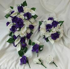 Purple / ivory wedding flowers / Bridal /Bridesmaid / Buttonholes