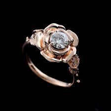 Forever One Moissanite Leaves Rose Flower Engagement Ring Pink Gold