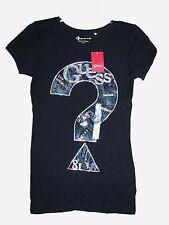 Nuovo Guess Nero Jet ,'?' Logo,Pace,Glam,Argento,Maglietta in Cotone,Tshirt,