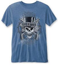GUNS N' ROSES Descolorido Skull' (Blue) Devoré T-SHIRT - Nuevo y Oficial
