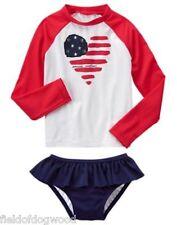 NWT Gymboree July 4th Girls Rash Guard SET American Flag Many sizes Swimsuit
