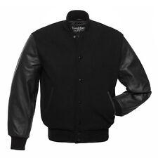 Stewart & Strauss All Black Premium Wool & Genuine Leather Varsity Bomber Jacket