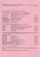 Richardson Trailers 1978 UK Market Prices & Accessories Brochure