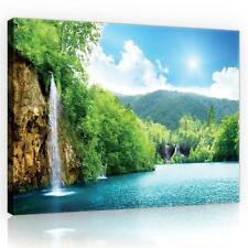 Wasserfall Panorama Bild Feng Shui Leinwand Poster Wandbild 160 cm* 80 cm 686