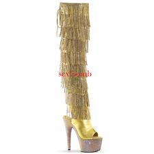 Stiefel Fransen Strass Ferse 18 von 35 bis 40 Gold Plateau Sandalen Sexy Schuhe