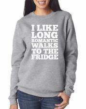 I Like Long Romantic Trips to the Fridge Funny Jumper - Black & Grey Sweatshirt
