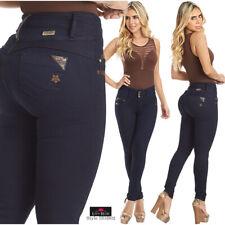 Faja Colombian Jeans Levanta Cola Blue Denim High Waist Butt Lifter With Pockets