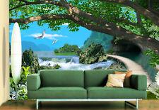 3D River, woods 356 Wall Paper Print Wall Decal Deco Indoor Wall Murals