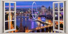 London Eye Evening City Skyline 3D Effect Window Canvas Picture Art Wall Prints