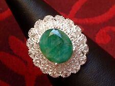 Designer Ring - Smaragd Solitär & Zirkonia - Sterlingsilber - 925 - Feinglanz !