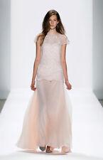 $648 Tadashi Shoji Embroidered tulle Silk Chiffon Pale Pink Dress Gown