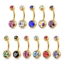 Piercing de Ombligo Oro Cepillado Mate Acero Inox. Piedra Circonita Colores
