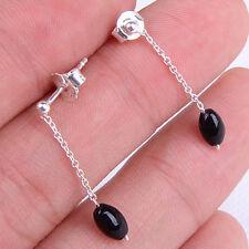 Women's Faddish Agate Linear 925 Sterling Silver Dangle Earrings Jewelry M68_70