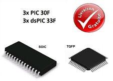 3x Microcontrôleurs Microchip : PIC 30F -  dsPIC33F - SOIC / SPDIP / TQFP : NEUF