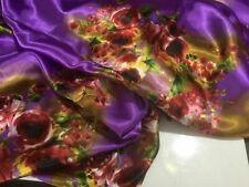 New Gorgeous Designer Soft Floral Satin Print Fabric 55''140cm Dress Art Garment