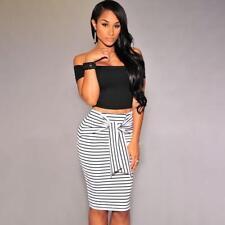 Women's Black White High-Waisted Pencil Skirt JO