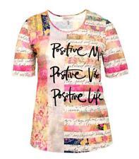 Chalou ❤ kurzarm T-Shirt Damen Pastelltöne Postitive Aufdruck große Größen