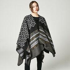 Luxury Celeb Cashmere Like Poncho Blanket Wrap Shawl Cape Retro Diamond Ladies