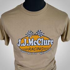 J J McClure Racing Retro Movie T Shirt Tan The Cannonball Run Burt Reynolds 80's