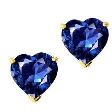 0.50 - 3.00 CARAT 14K SOLID YELLOW GOLD HEART SAPPHIRE SCREW BACK STUD EARRINGS