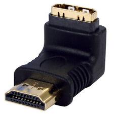 HDMI Female To HDMI Male Right Angle Adaptor Gold