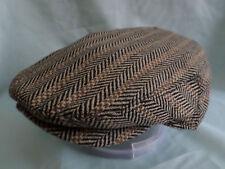 BROWN HERRINGBONE 1900,S 1930,S  VICTORIAN EDWARDIAN PEAKY BLINDERS FLAT CAP