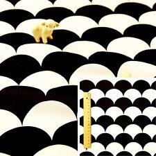 BLACK WHITE MONOCHROME Fat Quarter/Meter 100% Cotton Fabric FQ Craft Scale Wave