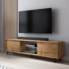 Meuble TV Banc TV LEFYR 140 cm blanc gris noir chêne wotan éclairage LED inclus