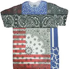 Bandana Print USA Flag Sublimated Adult T-Shirt - American Flag Fourth of July
