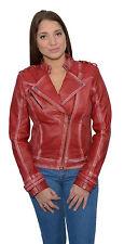 Women's Sheepskin Leather Asymmetrical Motorcycle Jacket w/ Studding
