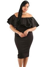 New Classy Ladies Black Layered Ruffle Off Shoulder Midi Dress 16 18 20 22 24