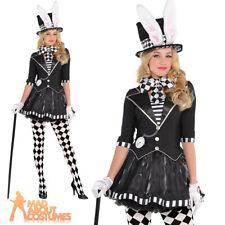 Ladies Dark Mad Hatter Costume Adult Alice Halloween Fancy Dress Sexy Malice