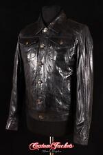 Men's TRANSPORTER Black TRUCKER Denim Western Real Lambskin Nappa Leather Jacket