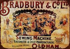 RETRO METAL PLAQUE :BRADBURY & Co Ltd, Sewing Machine sign/ad