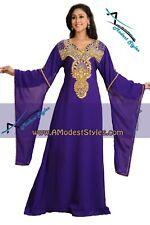 Purple DUBAI ABAYA KAFTAN Hijab Muslim Islam Wedding Dress *USA SELLER* MDfhs02