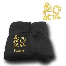 COUVERTURE moelleuse Doudou broderie brodé Signe du Zodiaque lion + NOM