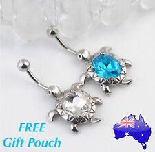 Cute Crystal Turtle Tortoise Silver Belly Ring Bar Naval Jewellery Women's Gift
