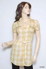 New Guess Cotton Plaid Belted Dress Shirt Tunic Blouse Top ~Yellow *XS