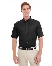 Harriton Men's Foundation 100% Cotton Short-Sleeve Twill Shirt Teflon M582 S-4XL