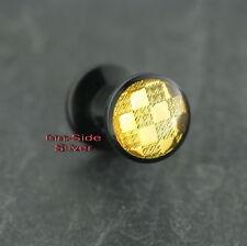 Kunststoff Piercing Ohr Tunnel Plug Carbon Goldline UV für gedehnte Ohrlöcher