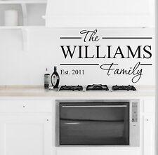 Family Name Kitchen Dining Living Room Wall Art Vinyl Sticker Home Diy Home