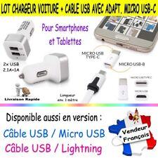 Chargeur de Voiture avec 2 ports USB 2.1A+1A + Câble USB / Micro USB 3.1 Type C