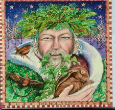 Yule Pagan Christmas Xmas Card Wicca Holly King Hare Robin Happy Holidays nature