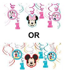 Mickey 1st OR Minnie 1st Birthday Party Supplies SWIRL DECORATIONS NEW DESIGN