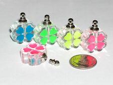 1pc  Glow in dark Glass tiny 4 leaf Lucky Irish clover bottle SCREW CAP GREEN **