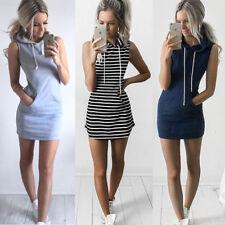 Damen Slim Bodycon Kapuzen Minikleid Sommer Hoodie Kleid Mit Tasche Größe 34-42