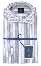 New $600 Luigi Borrelli Blue Shirt - Extra Slim - (EV06RC102172)