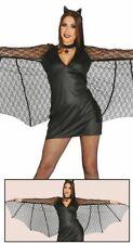 Womens Sexy Black Bat Wings Halloween Fancy Dress Costume Ladies Outfit