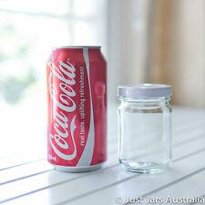 35 small 150ml round glass jars - White/ Gold/ Black/ Silver lids - 8.7cm tall