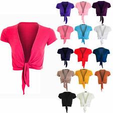 Women's Ladies Cap Sleeve Tie Up Front Cropped Bolero Shrugs Cardigan Sizes 8-24